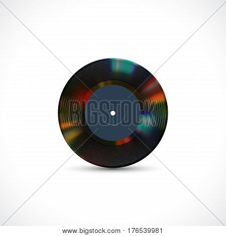 Vinyl disc 7 inch EP record with colorful grooves