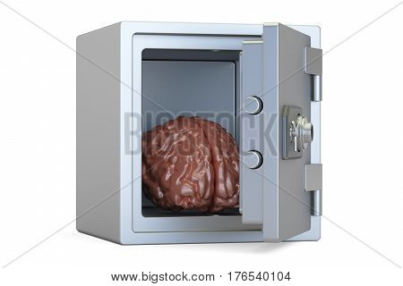 Brain protected in the safe 3D rendering isolated on white background