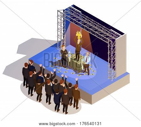 Prestigious business award winner prize giving ceremony podium isometric view with golden trophy and champagne vector illustration