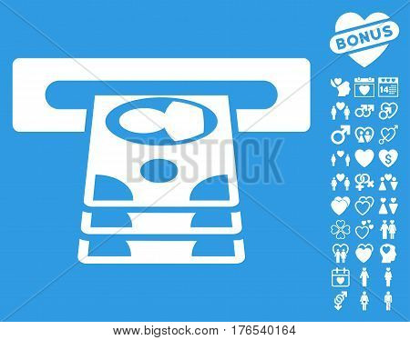 Cashpoint icon with bonus decoration icon set. Vector illustration style is flat iconic symbols on white background.
