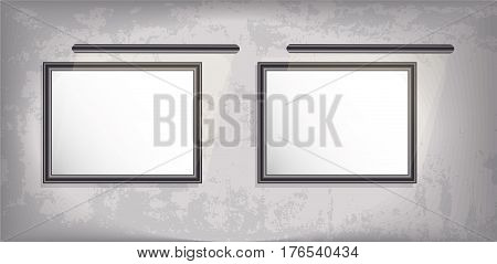 Mock up. Two vertical picture with backlight. Grunge background. vector