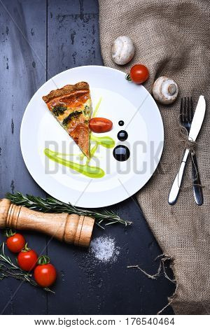Pizza Slice With Pepperbox And Saltcellar, Cherry Tomato On Burlap