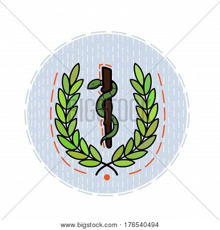 Color flat illustration dedicated to the day of health. Image of a walking stick and a snake on a blue background in a circle. For stickers, postcards, banners, leaflets.