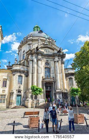 Lviv Ukraine - August 15 2016: Dominican Cathedral church in Lviv Ukraine