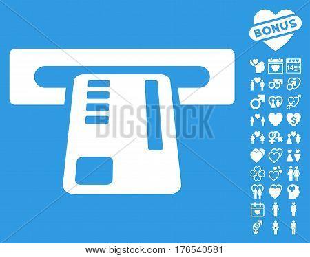 Ticket Machine pictograph with bonus romantic images. Vector illustration style is flat iconic symbols on white background.