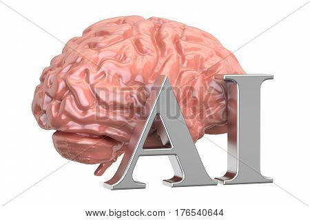 Human brain and AI text artificial intelligence concept. 3D rendering