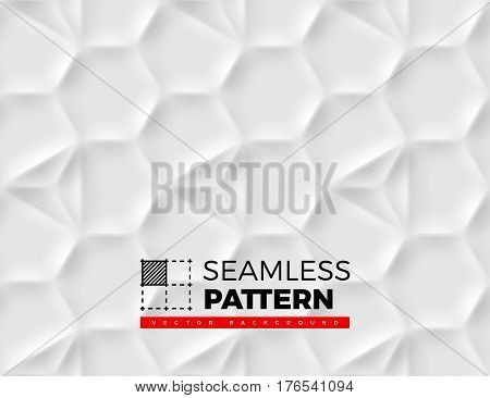 Seamless pattern with hexagonal cells made from shadows and lights in origami style. White background.