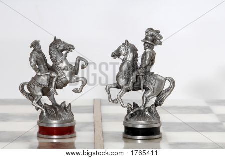 Nice silver chess figures knights on board poster