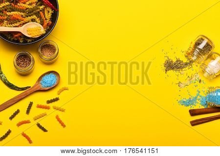 Colorful Dried Fusilli Pasta With Salt And Spices