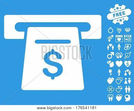 Ticket Terminal pictograph with bonus love symbols. Vector illustration style is flat iconic symbols on white background.