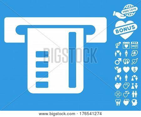 Ticket Terminal icon with bonus decoration design elements. Vector illustration style is flat iconic symbols on white background.