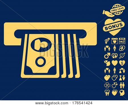 ATM Insert Cash icon with bonus lovely pictures. Vector illustration style is flat iconic symbols on white background.