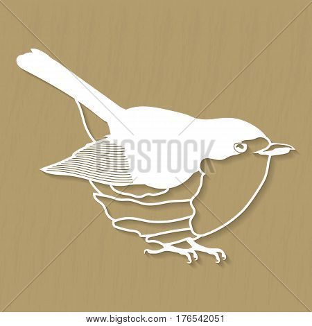 Vector Robin bird design for plotter or laser cutting. Illustrations for cutting on film, wood, plastic and over materials.