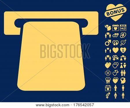 Bank ATM icon with bonus romantic images. Vector illustration style is flat iconic symbols on white background.