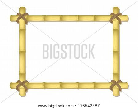 vector bamboo frame. bound by a rope. mockup design. isolated on a white background. EPS 10