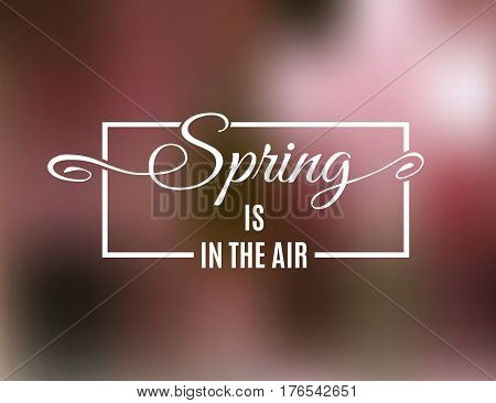 Spring is in the air lettering on a frame isolated on blurred pink background. Hello Spring greeting card. Vector illustration