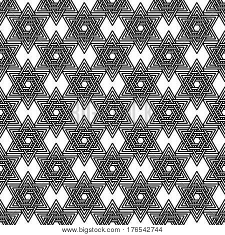 Abstract seamles pattern from stars of David. Black and white line geometry background. Vector illustration