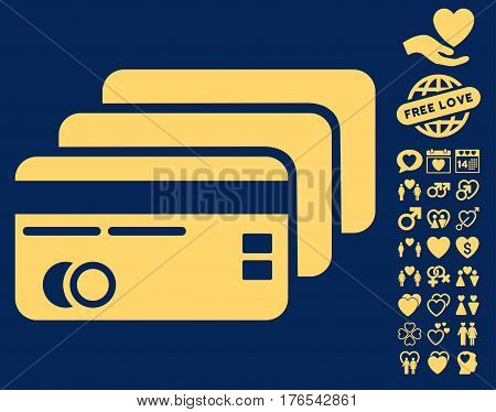 Banking Cards pictograph with bonus amour clip art. Vector illustration style is flat iconic symbols on white background.