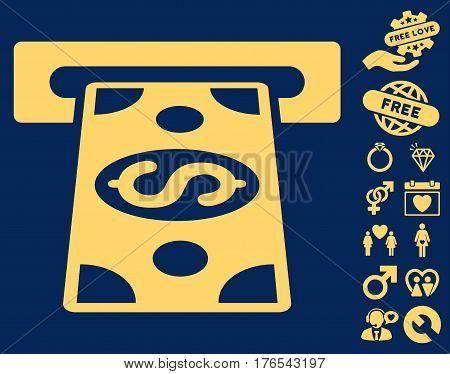Cash Withdraw icon with bonus valentine design elements. Vector illustration style is flat iconic symbols on white background.