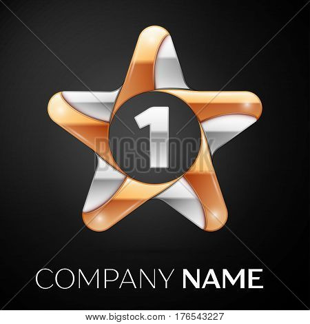 Number one vector logo symbol in the colorful star on black background. Vector template for your design