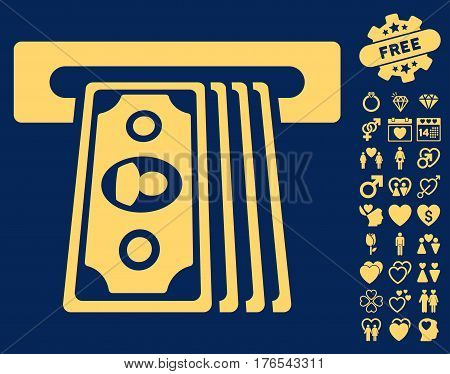 Cashpoint Terminal icon with bonus lovely pictures. Vector illustration style is flat iconic symbols on white background.