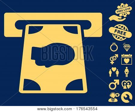 Cashpoint pictograph with bonus dating clip art. Vector illustration style is flat iconic symbols on white background.