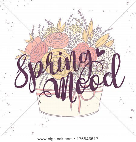 Vector card spring vector photo free trial bigstock vector card with spring words festive holiday flower bouquet with roses hawaiian flowers twigs leaves and m4hsunfo