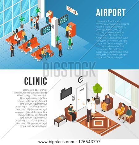 Waiting area horizontal banners set with airport and clinic symbols flat isolated vector ilustration