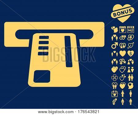 Ticket Machine icon with bonus lovely design elements. Vector illustration style is flat iconic symbols on white background.