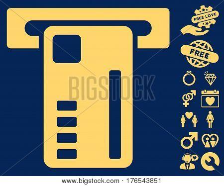 Ticket Machine pictograph with bonus decoration pictograms. Vector illustration style is flat iconic symbols on white background.