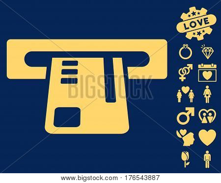 Ticket Terminal pictograph with bonus amour pictures. Vector illustration style is flat iconic symbols on white background.