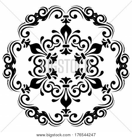Elegant vector round black and white ornament in classic style. Abstract traditional pattern with oriental elements. Classic vintage pattern