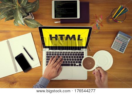 Learn Html, Web Development And Web Design,  Trendy Long Shadow Flat Design And Html Word On Screen
