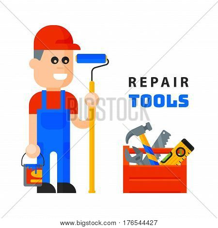 service worker macter man character flat style isolated on white background and home repair tools icons working construction equipment box vector illustration. Fix instrument accessories.