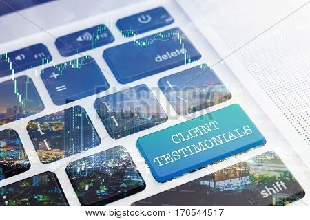 CLIENT TESTIMONIALS: Green button keyboard computer. Double Exposure Effects. Digital Business and Technology Concept.