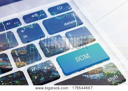 SCM (SUPPLY CHAIN MANAGEMENT): Green button keyboard computer. Double Exposure Effects. Digital Business and Technology Concept.