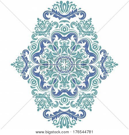 Oriental vector blue pattern with arabesques and floral elements. Traditional classic ornament. Vintage pattern with arabesques