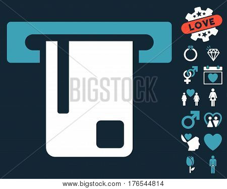 Bank ATM icon with bonus love pictures. Vector illustration style is flat iconic symbols on white background.