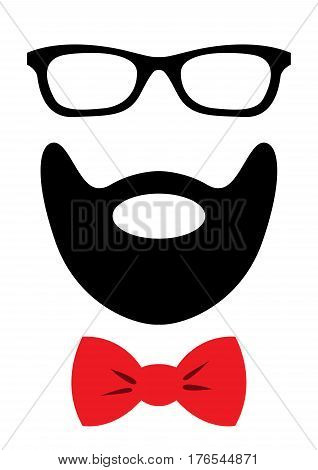 Party accessories set - glasses, mustache, bow - for design, photo booth, scrapbook in vector