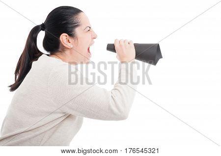 Young Girl Screaming In A Paper Loudspeaker