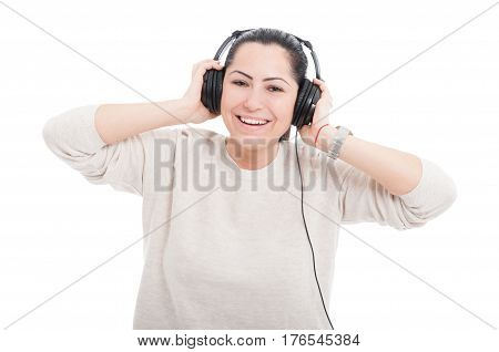 Smiling Young Woman.listening Music With Headphones