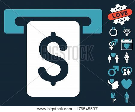 Cash Withdraw icon with bonus decorative pictograph collection. Vector illustration style is flat iconic symbols on white background.