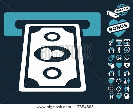 Cashpoint Terminal icon with bonus marriage design elements. Vector illustration style is flat iconic symbols on white background.