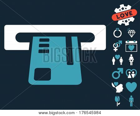 Ticket Terminal pictograph with bonus marriage pictograms. Vector illustration style is flat iconic symbols on white background.