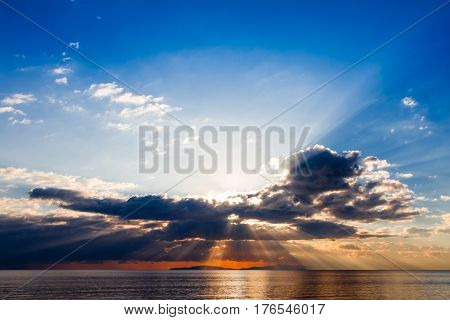 Elba island at sunset in Tuscany Italy