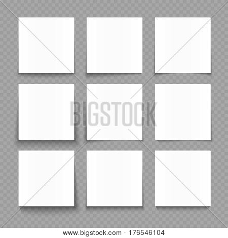 Notepad blank sheets of white paper with shadow effects vector illustration. Paper sheet for note message, template of square paper cards