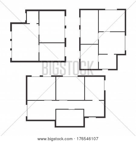 Apartment Floor Plan Set Top View. Scheme or Layout Living Building. Vector illustration