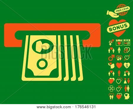 ATM Insert Cash icon with bonus valentine pictures. Vector illustration style is flat iconic symbols on white background.