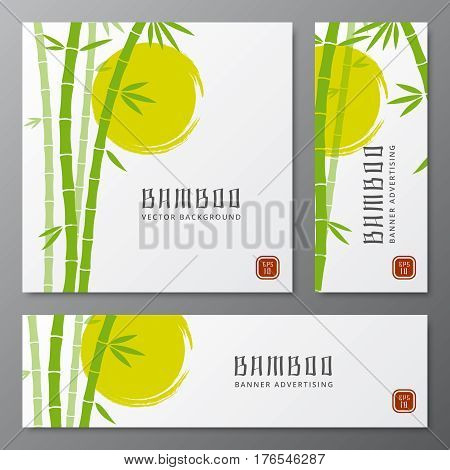 Asian bambu threes cards or japanese bamboo banners vector illustration. Asian plants on card, template of chinese traditional plant