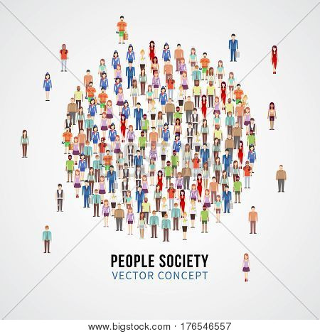 Large people crowd in circle shape. Society, people community vector concept. Group of social people, illustration of human social male and female